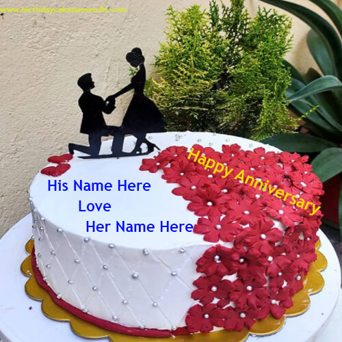 Romantic Anniversary Cake with Name Edit Online