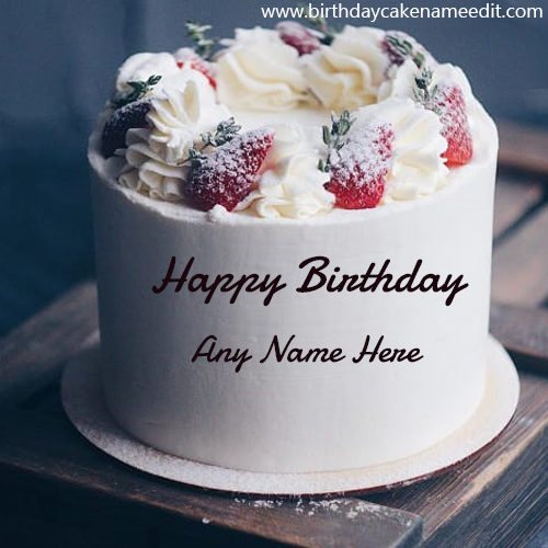 Strawberry Birthday cake with name edit