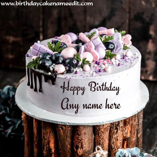 White Birthday forest cake with name edit