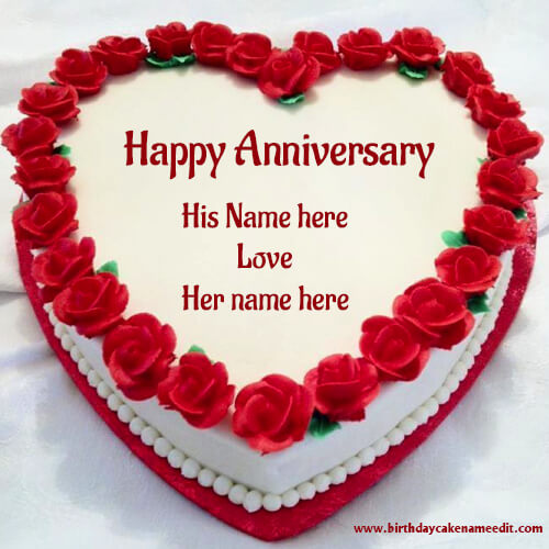 happy anniversary red rose cake with name