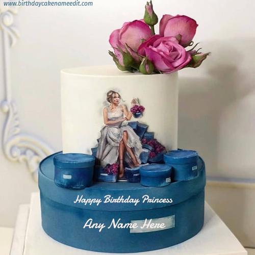 happy birthday princess cake with name edit