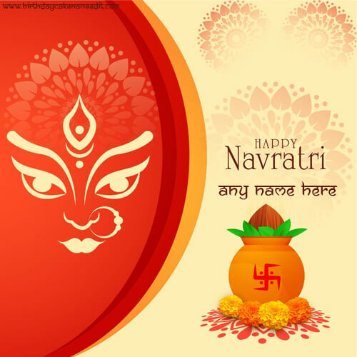 happy navratri 2019 greetings card with name
