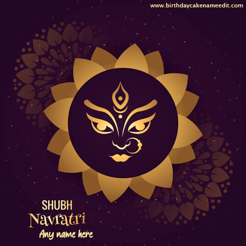 happy navratri beautiful golden greeting card with name
