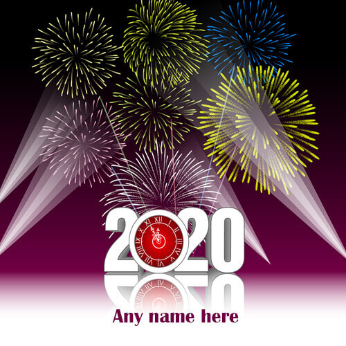 happy new year 2020 card with name editor