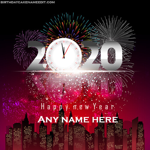 happy new year 2020 greeting card with name