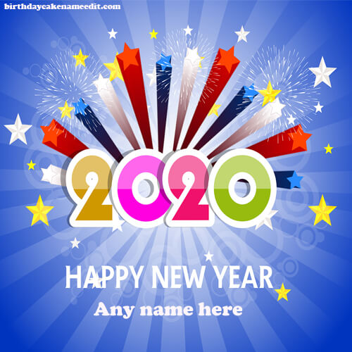 happy new year 2020 wishes card with name