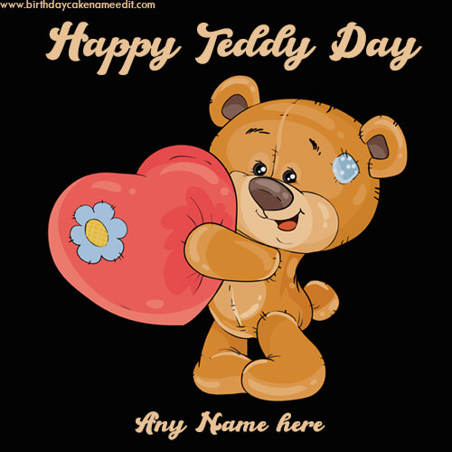 happy teddy day greeting card with name