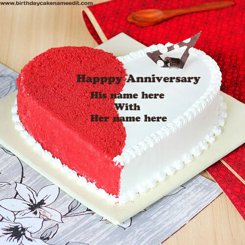 romantic happy anniversary cake decorated red and white colored creamy cake with name