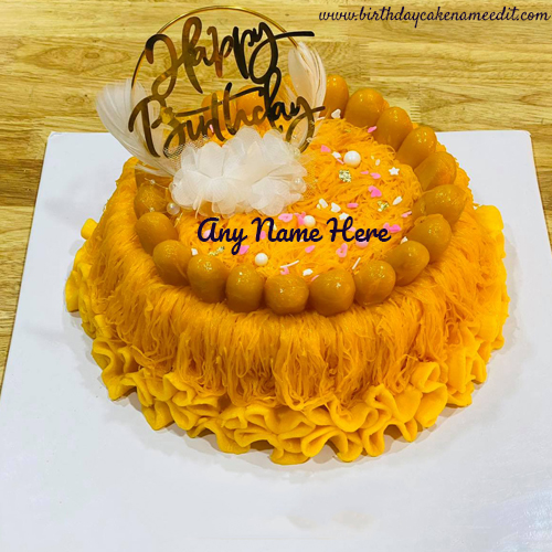 yellow flowers birthday cake with name pic edit